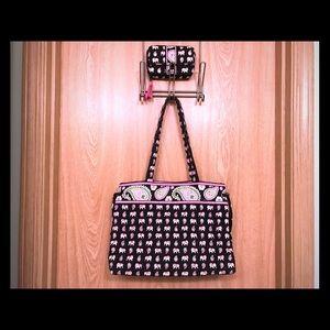 Vera Bradley Pink Elephant Print Bag & Wallet Set